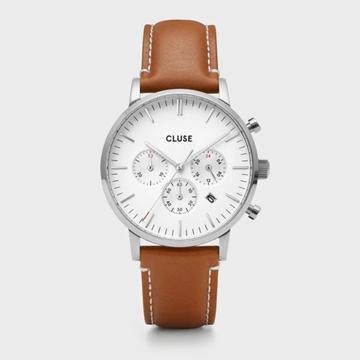 Foto de CLUSE Aravis chrono leather silver white/light brown 40mm.
